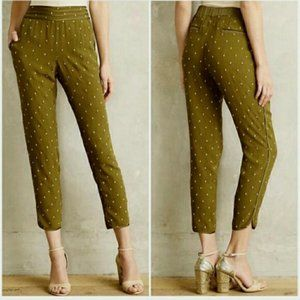 Anthro Elevenses Goldform Embroidered Trousers